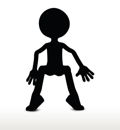 squat: 3d man silhouette, isolated on white background, sitting