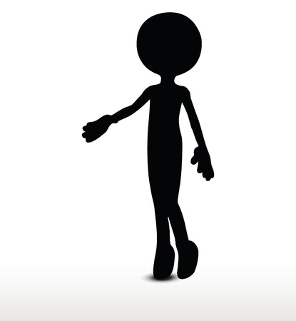acknowledgment: 3d man silhouette, isolated on white background, handshake Illustration