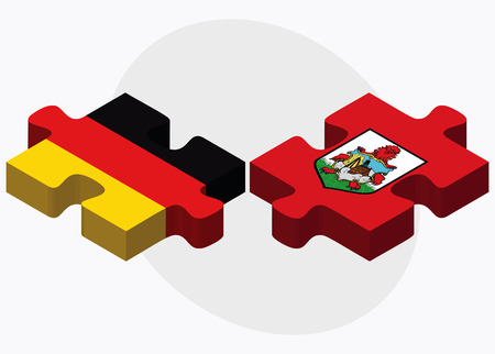 Germany and Bermuda Flags in puzzle  isolated on white background