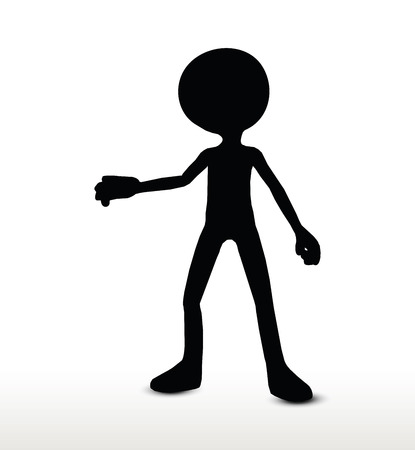 raise hand: 3d man silhouette, isolated on white background, raise hand Illustration