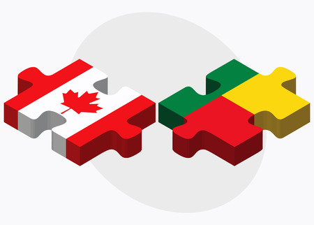 benin: Canada and Benin Flags in puzzle isolated on white background Illustration