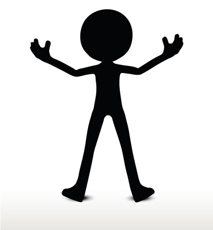 forceful: 3d man silhouette, isolated on white background, power pose