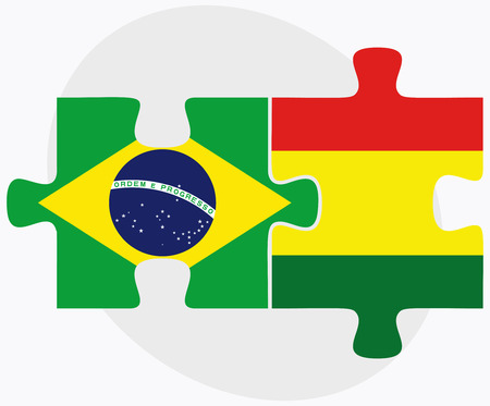federative republic of brazil: Brazil and Bolivia Flags in puzzle  isolated on white background