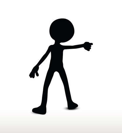 presage: 3d man silhouette, isolated on white background, draw a weapon Illustration