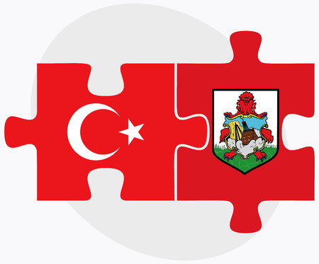 bermuda: Turkey and Bermuda Flags in puzzle  isolated on white background