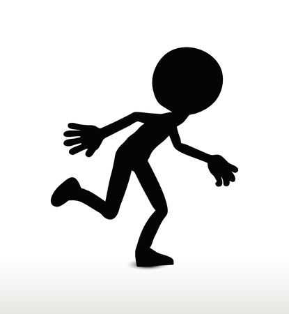 humanoid: 3d man silhouette, isolated on white background, running