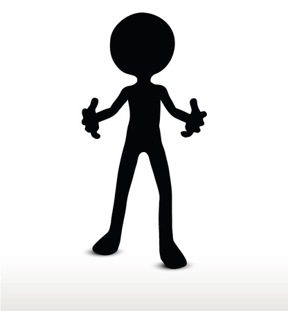 imploring: 3d man silhouette, isolated on white background, Pleading Illustration