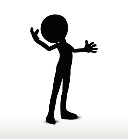 weighty: vector image - 3d man silhouette, isolated on white background, power pose