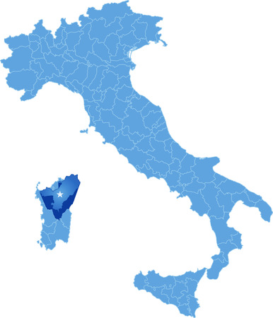 subdivisions: Map of Italy where Nuoro province is pulled out, isolated on white background