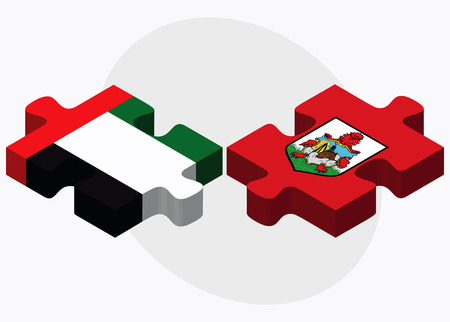 United Arab Emirates and Bermuda Flags in puzzle  isolated on white background