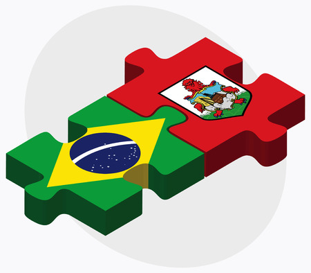 federative republic of brazil: Brazil and Bermuda Flags in puzzle  isolated on white background