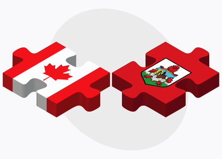 bermuda: Canada and Bermuda Flags in puzzle  isolated on white background Illustration