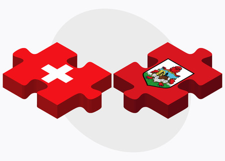 Switzerland and Bermuda Flags in puzzle  isolated on white background Ilustração