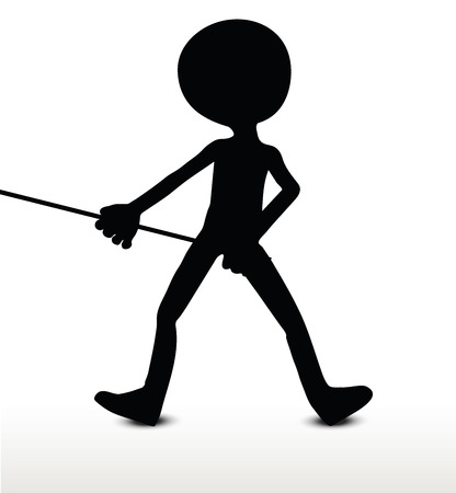haul: 3d man silhouette, isolated on white background, Pull It Illustration