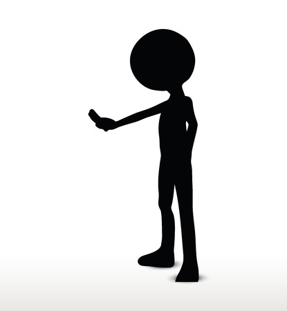 stoppage: 3d man silhouette, isolated on white background, Stop!  Wait! Illustration