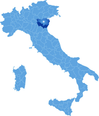 Map of Italy where Ferrara province is pulled out, isolated on white background