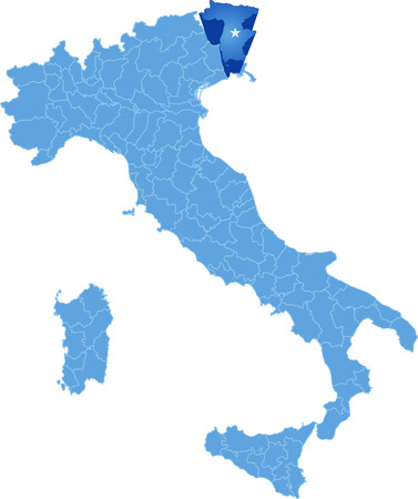 pulled out: Map of Italy where Udine province is pulled out, isolated on white background