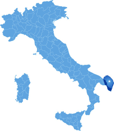 haul: Map of Italy where Lecce province is pulled out, isolated on white background