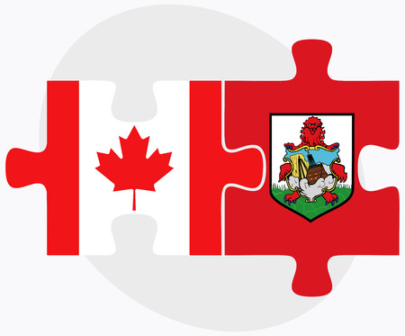 Canada and Bermuda Flags in puzzle  isolated on white background Ilustração