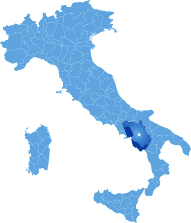 Map of Italy where Salerno province is pulled out, isolated on white background