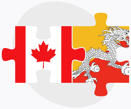 bhutan: Canada and Bhutan Flags in puzzle  isolated on white background