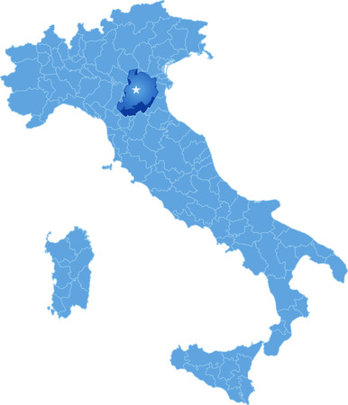 pulled out: Map of Italy where Bologna province is pulled out, isolated on white background
