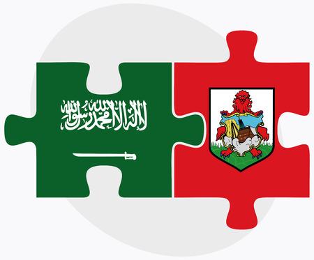 Saudi Arabia and Bermuda Flags in puzzle  isolated on white background Ilustração