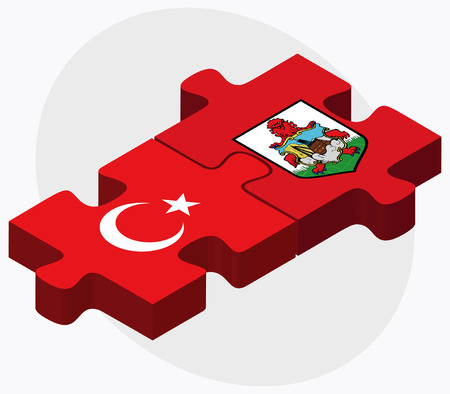 Turkey and Bermuda Flags in puzzle  isolated on white background