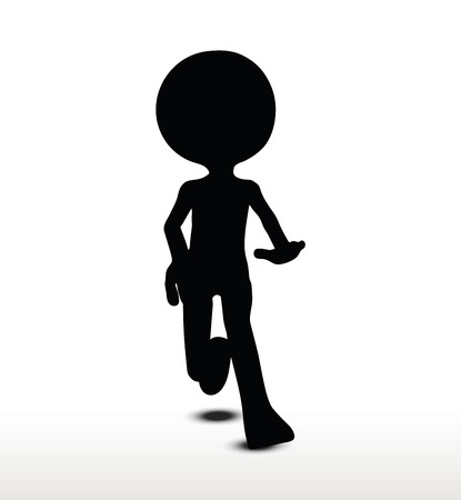 pounce: 3d man silhouette, isolated on white background, Leaping