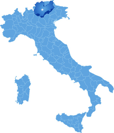 Map of Italy where Trento province is pulled out, isolated on white background