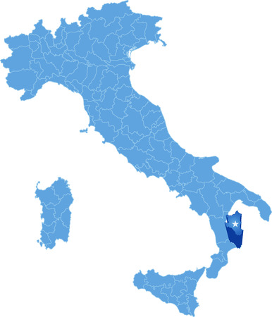 pluck: Map of Italy where Crotone province is pulled out, isolated on white background