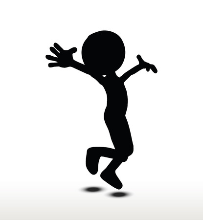 3d man silhouette, isolated on white background, Jumping