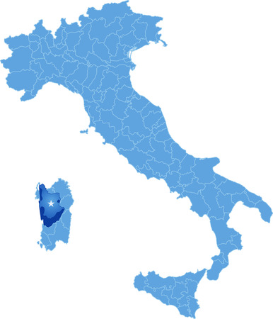 pulled out: Map of Italy where Oristano province is pulled out, isolated on white background