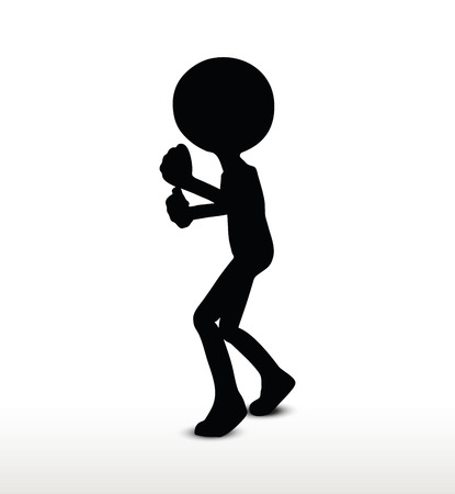 fist fight: 3d man silhouette, isolated on white background, fist fight Illustration