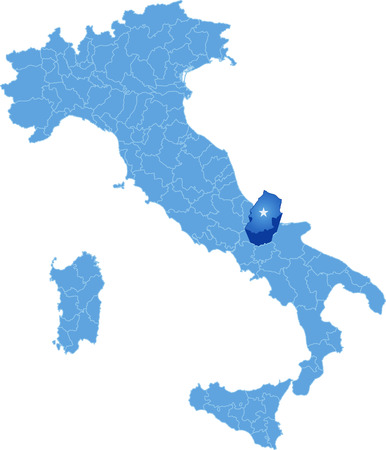 pulled: Map of Italy where Campobasso province is pulled out, isolated on white background