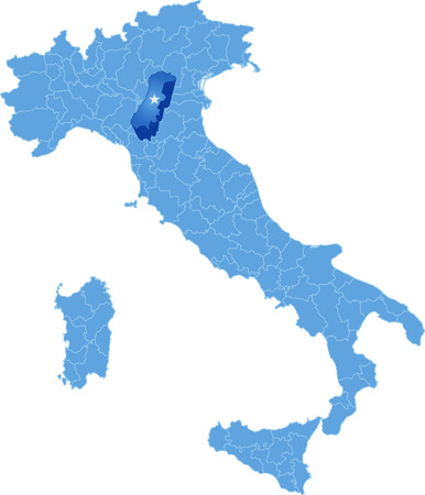 pulled out: Map of Italy where Modena province is pulled out, isolated on white background