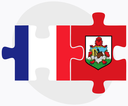 France and Bermuda Flags in puzzle  isolated on white background Ilustração