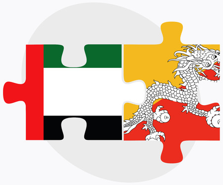 bhutan: United Arab Emirates and Bhutan Flags in puzzle  isolated on white background Stock Illustratie