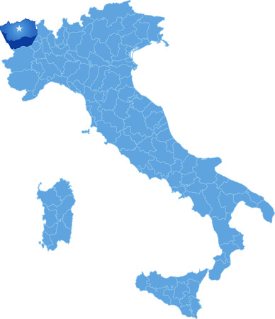 withdraw: Map of Italy where Aosta province is pulled out, isolated on white background