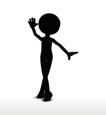curtsy: 3d man silhouette, isolated on white background, greeting