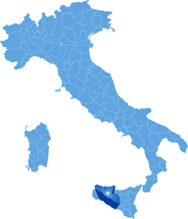 pulled out: Map of Italy where Agrigento province is pulled out, isolated on white background