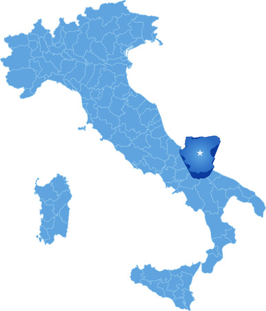 haul: Map of Italy where Foggia province is pulled out, isolated on white background