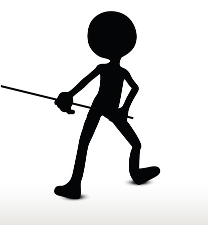 pull: 3d man silhouette, isolated on white background, Pull It Illustration