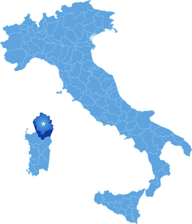 subdivision: Map of Italy where Olbia-Tempio province is pulled out, isolated on white background Illustration