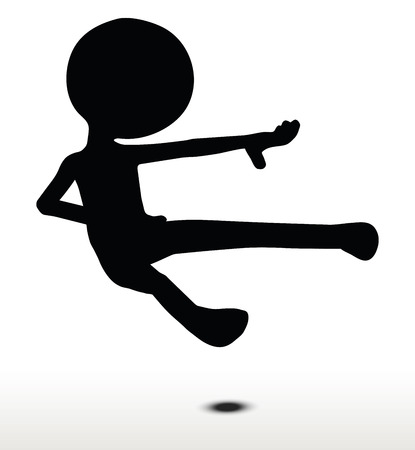 kicking: 3d man silhouette, isolated on white background, kicking