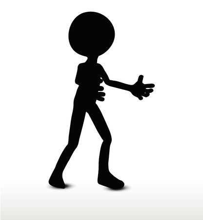 3d man silhouette, isolated on white background, Pleading Illustration