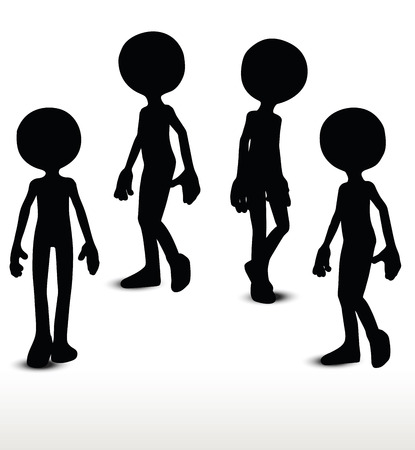 ramble: 3d man silhouette, isolated on white background, walking