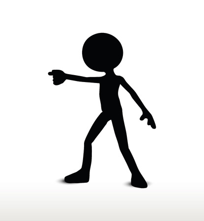 forewarn: 3d man silhouette, isolated on white background, draw a weapon Illustration