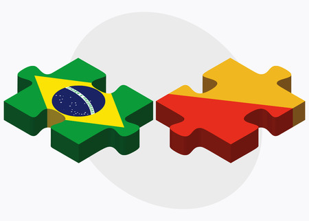 bhutan: Brazil and Bhutan Flags in puzzle  isolated on white background