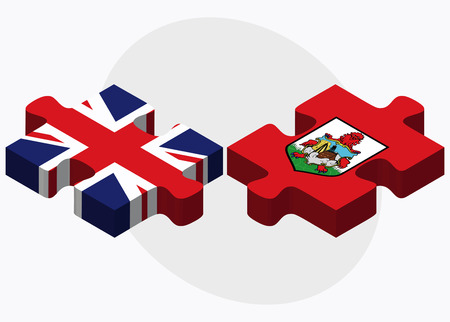 United Kingdom and Bermuda Flags in puzzle  isolated on white background